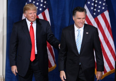 Republican presidential candidate and former Massachusetts Governor Mitt Romney is endorsed by Donald Trump in Las Vegas